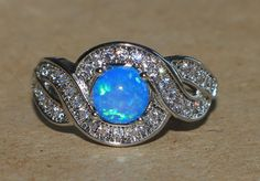 blue fire opal Cz ring gemstone silver jewelry Sz 8 cocktail engagement CE23 #Cocktail