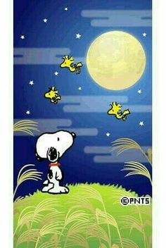 Snoopy and friends with a full moon.