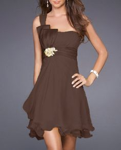 Brown One Shoulder Beaded Sash Taffeta Chiffon Bridesmaid Dress (would want it in purple)