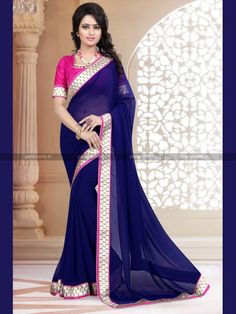 Navy Blue Georgette Lovely Casual Saree
