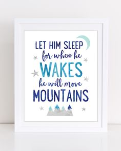 Let Him Sleep for When He Wakes He Will Move Mountains, Boys Nursery Print, Boys Room Wall Art, Navy, Navy Nursery Decor, PRINTABLE WALL ART by DuneStudio on Etsy