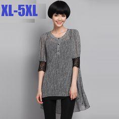 >> Click to Buy << 2015 women lace half sleeve O neck dovetail summer long stripe shirt casual blouse juniors tops plus size ladies shirtXXXXXL1365 #Affiliate