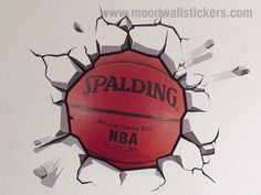 Fantastic Wrecking Basketball Wall Sticker on the wall ! http://www.moonwallstickers.com/basketball-breaking-wall-stickers
