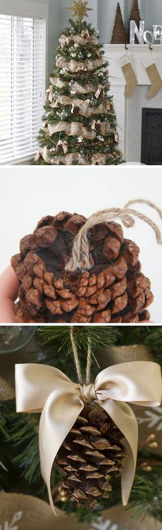 Pine Cone Bow Ornament | Click Pic for 20 DIY Christmas Tree Decorations to Make | Cheap Christmas Tree Decorating Ideas Dollar Stores
