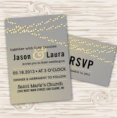 DIY Printable  Lights Wedding Invitation Set with RSVP by themunch,