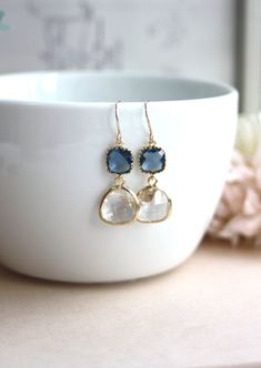 Clear Gold Plated Glass Pear Drop, Montana Blue Dangle Earrings.  Modern Everyday. Bridal. Bridesmaids Jewelry Earrings. Blue Wedding