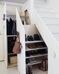 Unusual Storage Ideas For Under Stairs. Here are the Storage Ideas For Under Stairs. This post about Storage Ideas For Under Stairs was posted under the Furniture category by our team at February 2019 at pm. Hope you enjoy it and don& forget to . Closet Under Stairs, Space Under Stairs, Shoe Storage Under Stairs, Basement Stairs, Under Staircase Ideas, The Closet, Under Stairs Pantry Ideas, Under Stairs Cupboard Storage, Living Room Under Stairs