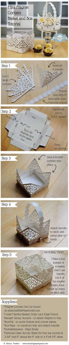 Mini Filigree Corners Basket Tutorial and Mini Filigree Corners Box Tutorial by Becca Feeken