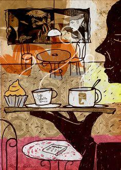 Waiter with tray. Ilustration for coffee's company Cafés Caballo Blanco