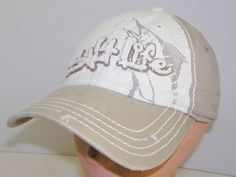 af2910b21c4 Salt-Life Marlin Distressed Khaki Baseball Cap Surf Beach Strapback Hat   SaltLife  BaseballCap