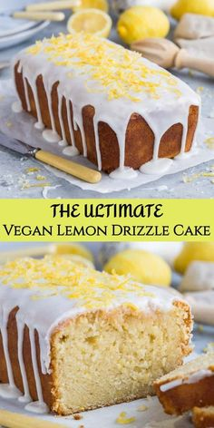 Vegan lemon drizzle cake - this is the ultimate eggless and dairy free lemon drizzle cake recipe - soft, moist, easy to make and intensely lemony! Vegan Lemon Drizzle Cake, Lemon Loaf Cake, Eggless Vanilla Cake Recipe, Vegan Vanilla Cake, Lemon Bread, Lemon Cakes, Eggless Desserts, Vegan Lemon Desserts, Chocolate Desserts