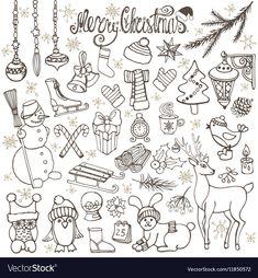 Christmas season doodle iconsanimalsRetro vector image on VectorStock Christmas Doodles, Christmas Drawing, Christmas Art, Christmas Poster, Bullet Journal Inspo, Bullet Journal Ideas Pages, Doodle Drawings, Doodle Art, Illustration Noel