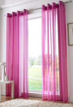 Eyelet ring top unlined voile panel in cerise. Sold and priced per single panel. Tab Top Curtains, Pleated Curtains, Sheer Drapes, Thermal Curtains, Hanging Curtains, Kylie Minogue At Home, Voile Panels, Custom Drapes, Curtain Poles