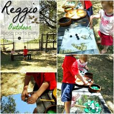 Reggio loose parts play at home outdoors. Using open-ended materials, mirrors & sand. Heuristic play encourages creativity and imagination. Outdoor Activities For Kids, Outdoor Learning, Infant Activities, Nature Activities, Learning Activities, Teaching Ideas, Reggio Documentation, Heuristic Play, Reggio Emilia Approach