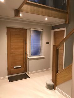 Home renovation including new Oak doors throughout and a Solid Oak staircase refurbishment incorporating toughened glass panels. Hallway Ideas, Door Ideas, Living Room Remodel, Home Living Room, School Farm, Carpet Staircase, Contemporary Front Doors, Dream House Interior, Oak Doors