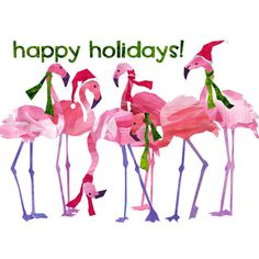 """PINK FLAMINGOS """"Happy Holidays"""" Funny Holiday Greeting Card... ($4.50) ❤ liked on Polyvore featuring home, home decor, stationery and christmas"""