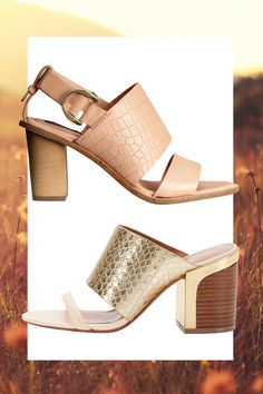 Leather Sandals with Buckle, H&M, $59; Gold Snakeskin Chunky Heel Mule, REBECCA MINKOFF, $295   - Cosmopolitan.com