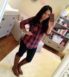 Plaid Top, Tory Burch Boots - I love this women's blog - she has my style down pat!! ;-)
