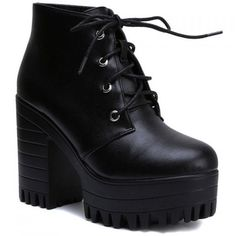 Concise Lace-Up and Chunky Heel Design Women's Black Short Boots (430 ARS) ❤ liked on Polyvore featuring shoes, boots, ankle booties, black bootie, black ankle booties, black lace up bootie, lace up bootie and lace up boots