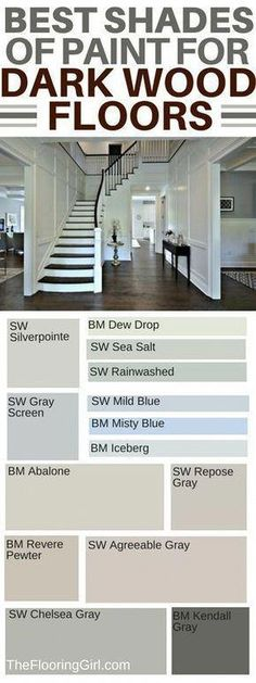 How to choose the best shade of paint and accent wall colors if you have dark hardwood floors. Which wall colors go best with dark hardwood flooring? Which paint shades are best for dark flooring and which paints should you use for accent walls? Best Paint Colors, Paint Colors For Home, Paint Colours, Best Wall Colors, Gray Wall Colors, Color Walls, Accent Wall Colors, Stain Colors, Dark Colors