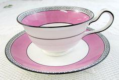 Pink and Black Salon China Tea Cup and Saucer, Vintage Tea Cup, Bone China, Pink…