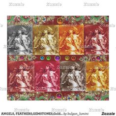 ANGELS, FEATHERS,GEMSTONES,Gold Floral Christmas Wrapping Paper #xmas #angel #archangelgabriel #fineart #spiritual