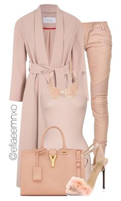 """Blushin'"" by efiaeemnxo ❤ liked on Polyvore featuring Balmain, iHeart, Yves Saint Laurent, women's clothing, women's fashion, women, female, woman, misses and juniors"