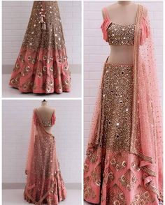 Pink Lehenga design with heavy embroidery Party Wear Indian Dresses, Indian Wedding Gowns, Indian Fashion Dresses, Indian Bridal Outfits, Indian Gowns Dresses, Party Wear Lehenga, Indian Bridal Fashion, Dress Indian Style, Indian Designer Outfits