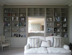 Bespoke built-in painted bookcase