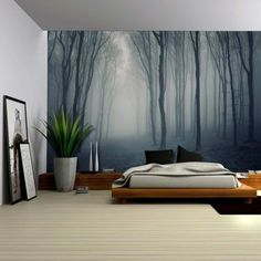 Wall26 - Leaf Covered Pathway in an Ominous Forest - Wall Mural, Removable Sticker, Home Decor - 100x144 inches