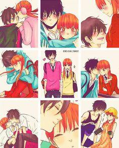 Shizuku, Haru, kissing, couple, collage, cute; My Little Monster