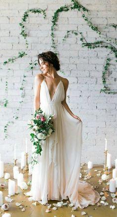 Simple Deep V Flowy Chiffon Beach Wedding Dress