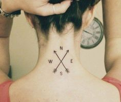 Compass Tattoo with X Arrows on Neck