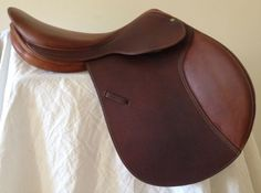 "SOLD Item #F4C - Forestier 17"" Saddle, Excellent Condition, Moveable/Removable Blocks, Long Flap  $1895"