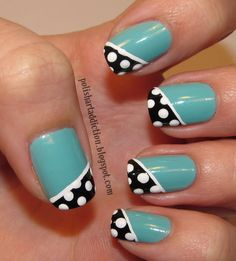Teal, black & white dotted diagonal french by Leslie at polishartaddict.com