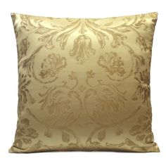 Yellow Gold color Silk Blend Pillow Cover with Floral Pattern