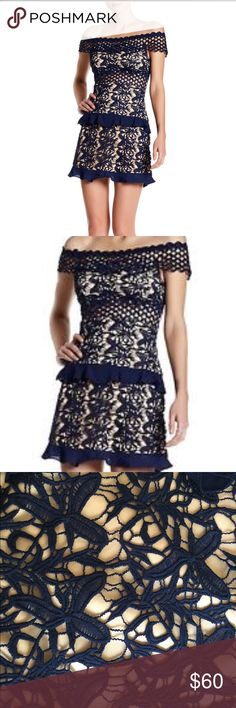 """NWT Romeo & Juliet Couture crochet navy mini dress * Color/pattern: navy - Allover crochet lace construction - Approx. 27 1/2""""length bust 25 1/2"""" waist 14 1/2"""" Shell/Lining: 100% polyester Ruffled chiffon tiers trim this flirty design of floral lace. Elasticized off-the-shoulder neckline. Short sleeves. Ruffled waist trim and hem. Exposed back zip closure. Bodycon-fit. Romeo & Juliet Couture Dresses Mini"""