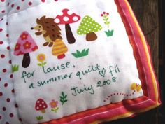 4 Seasons Quilt Swap - cute label by lululollylegs, via Flickr