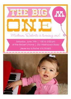 The Big One Photo Invitation from Peppermint Prints