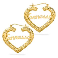 a1ab4d685 Personalized Sterling Silver and Gold Plated Heart Bamboo Name Earrings Any  Name | eBay