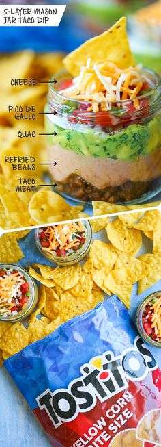 Mason Jar Taco Dip - Everyone's favorite dip in mason jar form! Everything is layered in individual jars so it makes for the easiest serving! Loaded with taco beef, refried beans, guacamole, pico de gallo, and cheese! Mason Jar Meals, Meals In A Jar, Mason Jars, Mason Jar Desserts, Appetizer Recipes, Snack Recipes, Cooking Recipes, Jar Recipes, Picnic Recipes