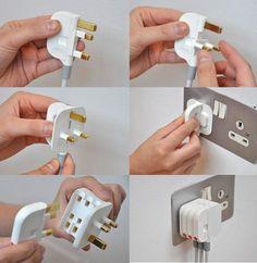 space saving 3 pin plug