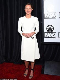 Alicia Vikander in Louis Vuitton attends the LA Film Critics Awards in Los Angeles on January 9, 2016