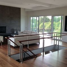Stainless Steel Cable Railing - Rainier Wood Top /  AGS Stainless