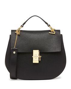 Chloe Drew Medium Calfskin Shoulder Bag, Black - Neiman Marcus