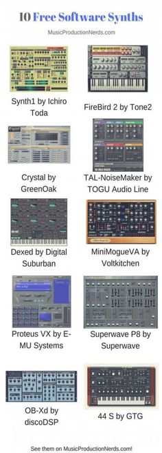 Here are 10 great software synths you can use for free in your music production and beatmaking. Music Recording Studio, Audio Studio, Music Studio Room, Music Software, Recorder Music, Music Theory, Electronic Music, Dance Music, Music Is Life