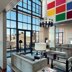 Manhattan loft Penthouse - i like the blocks of color on the wall, we could do something like this in our living room