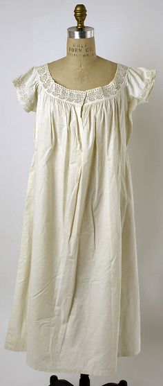 Linen chemise with punchwork at neckline and cuffs, American or European, 1861-65.