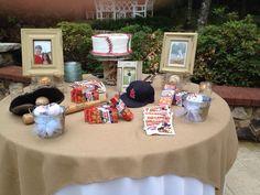 Baseball theme grooms table