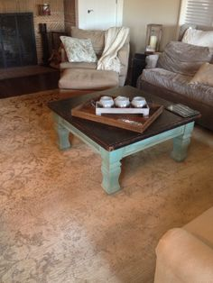 This custom painted coffee table was done in Annie Sloan Chalk Paint and Annie Sloan Dark wax.